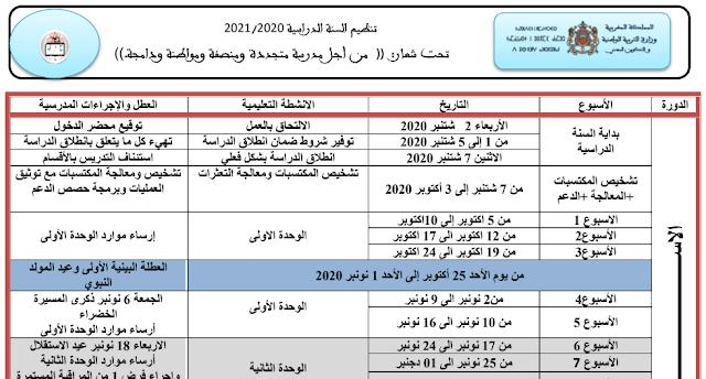 تنظيم السنة الدراسية 2020-2021