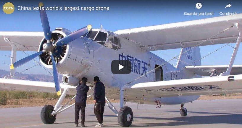 Il più grande aereo del mondo da trasporto senza pilota testato in Cina [VIDEO]