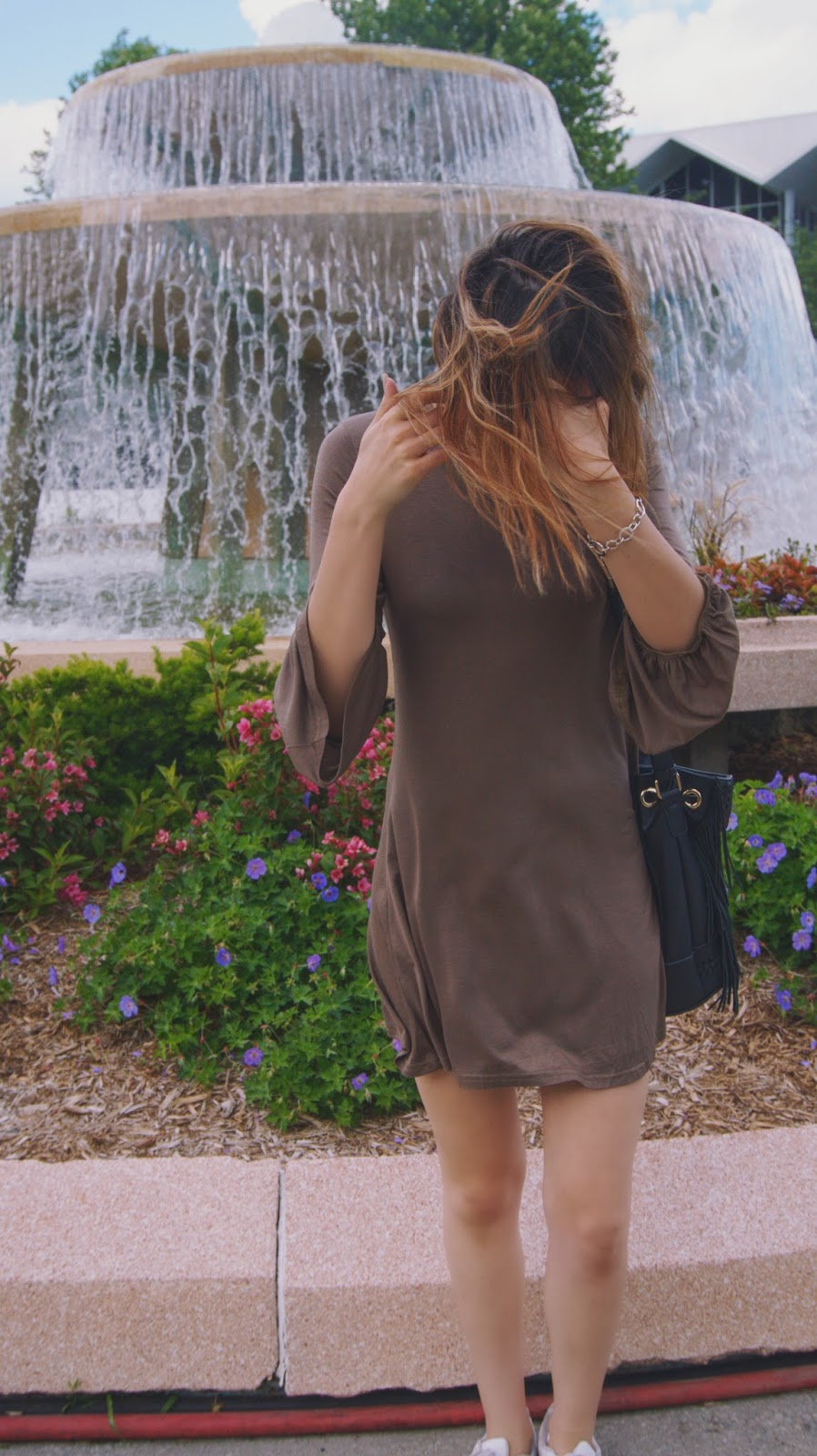 Khaki Bell Sleeve Dress Outfit with Adidas Superstars White Sneakers