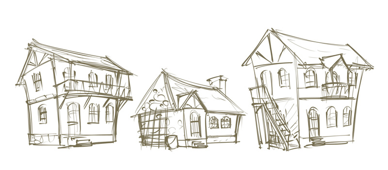 game environment building concept sketch