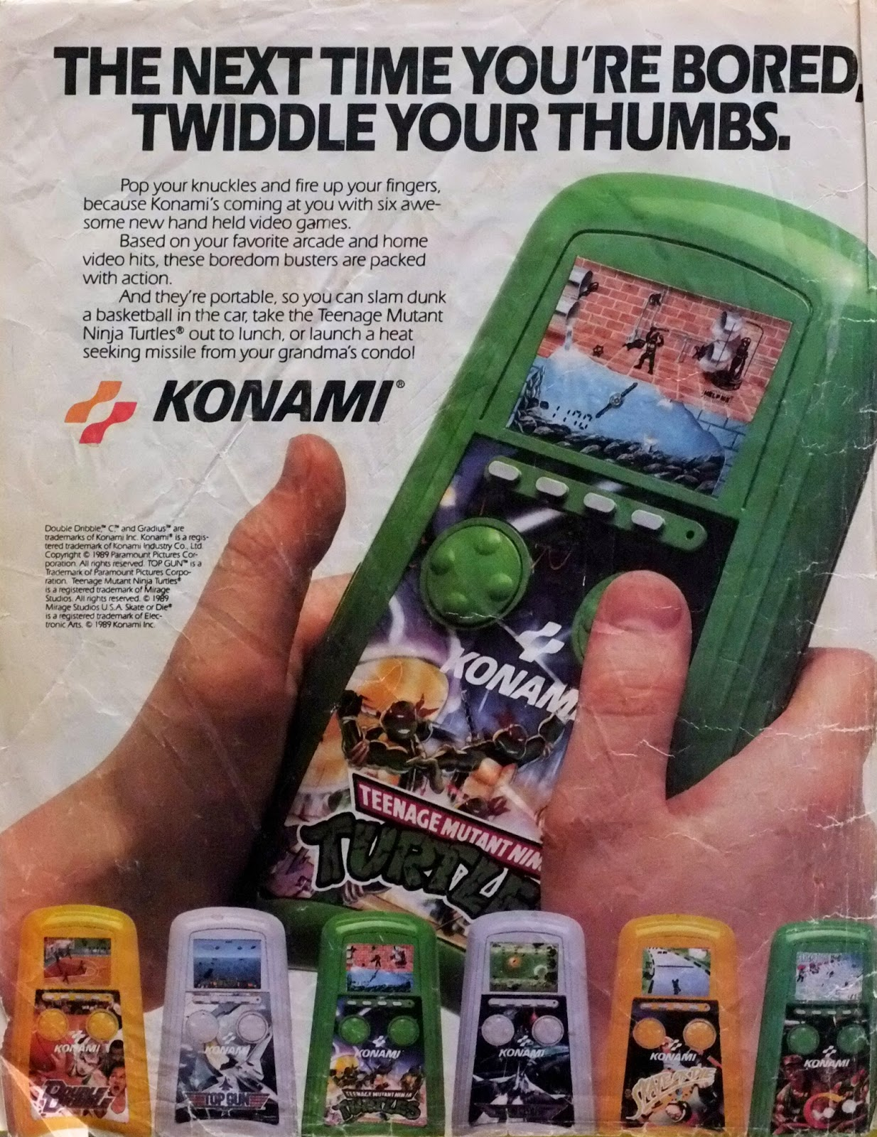 Konami portable video game devices advertisement