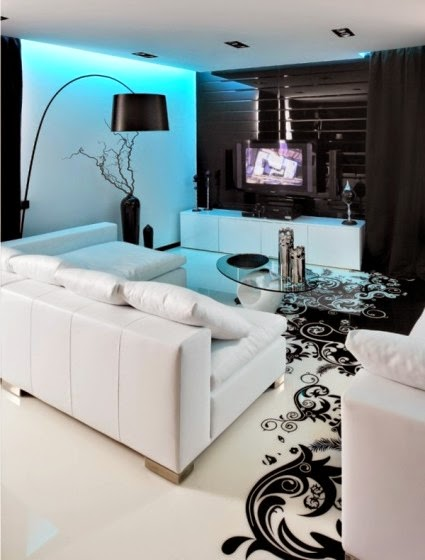 modern apartment decoration in white and black color themed