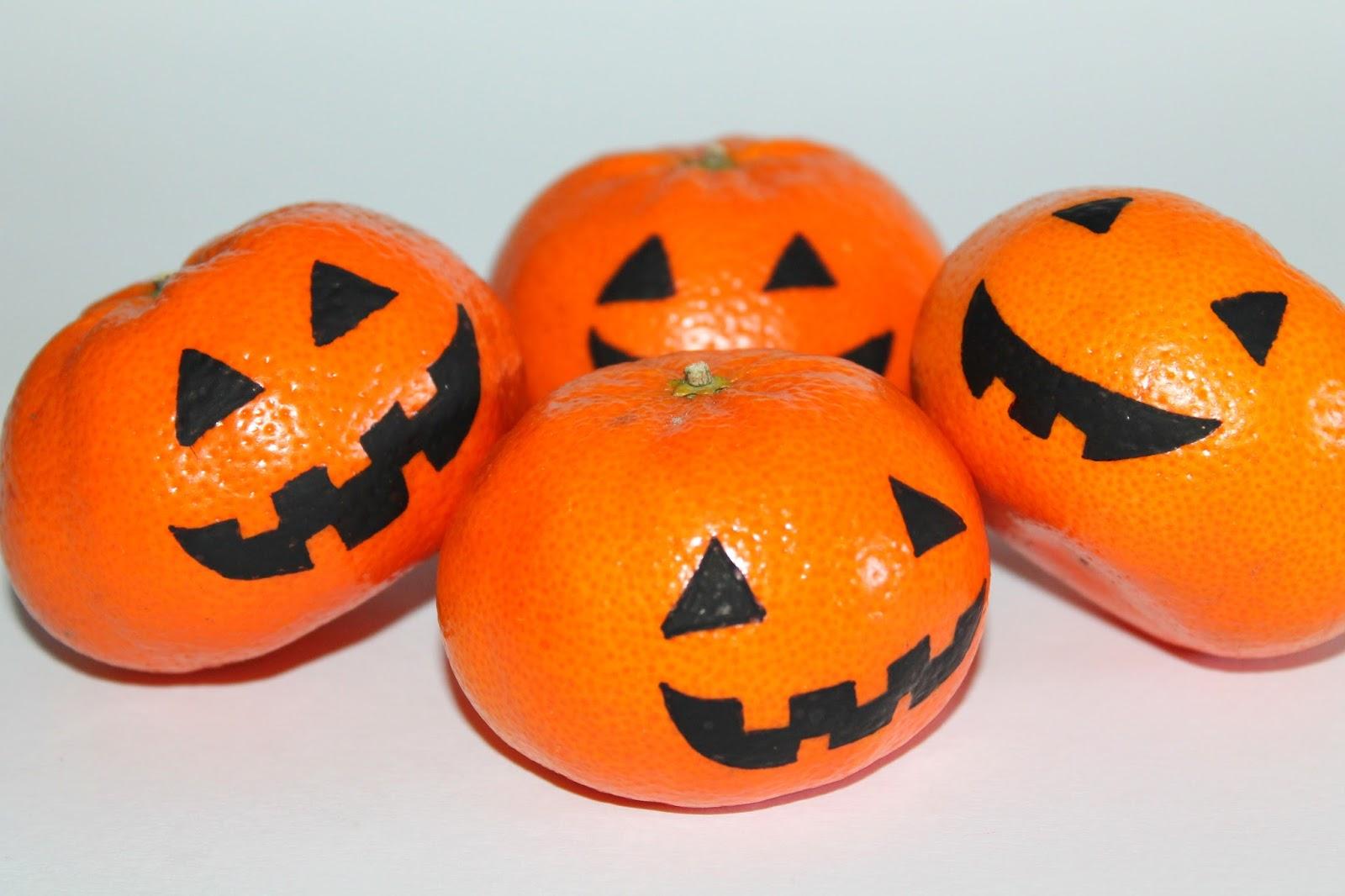 DIY, Basteln: Halloween Mandarinen in Halloween, Herbstdekoration, Basteln mit Naturmaterialien - DIYCarinchen