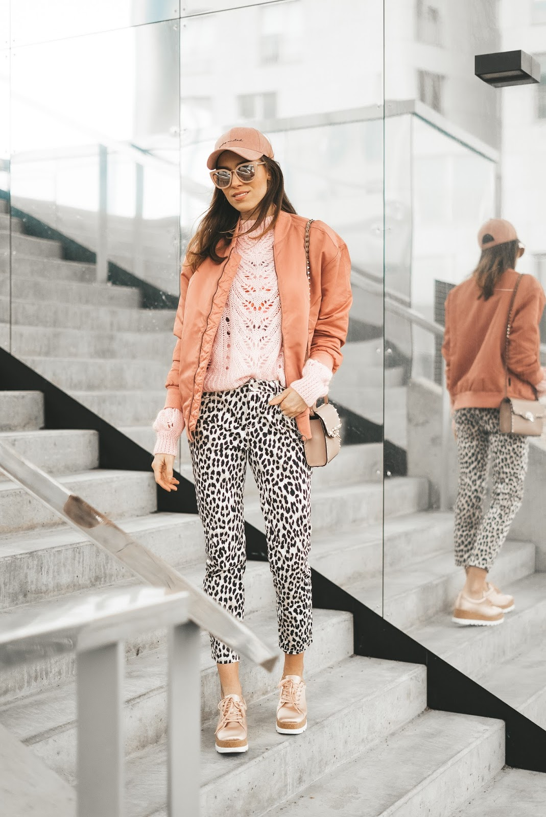 pink bomber jumper cap leopard print pants spring outfit