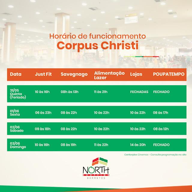 Confira o horário de funcionamento para o feriado de Corpus Christi no North Shopping Barretos