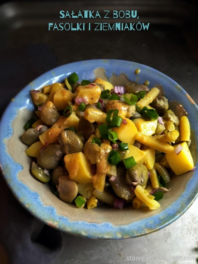 Sałatka z bobu, fasolki i ziemniaków