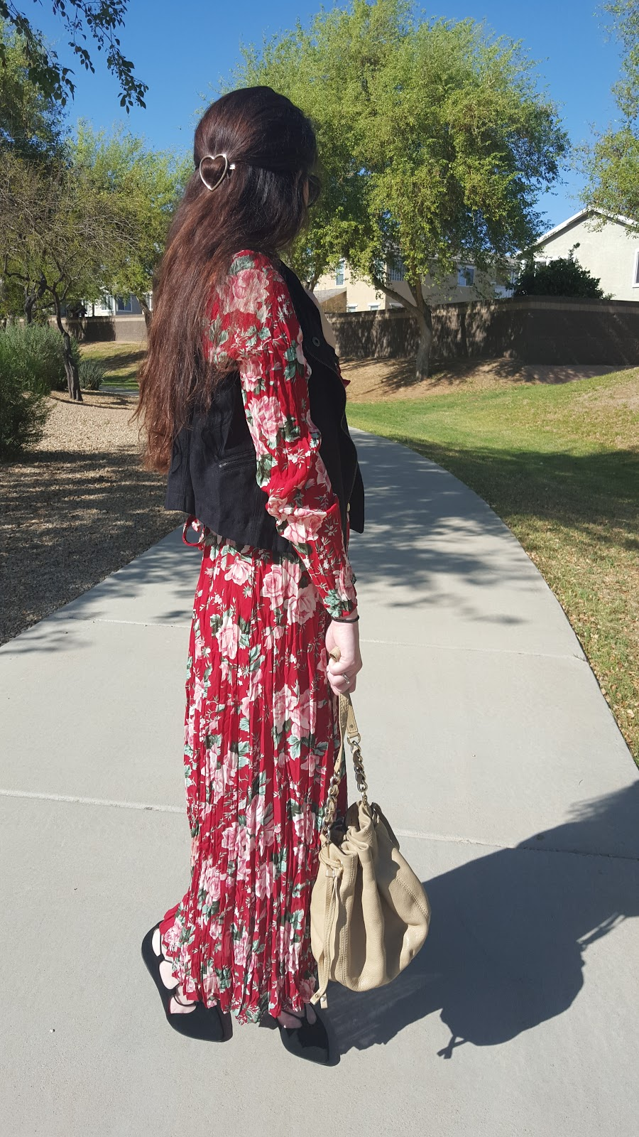 Spring fashion- floral maxi dress with suede