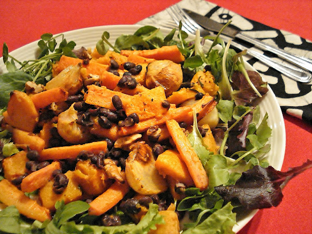 Black Bean & Roasted Vegetable Salad on a plate