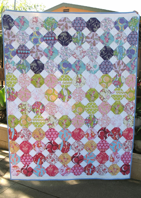 Snowball quilt feather flock by tina givens using aurifil  & minky