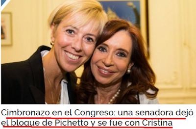 Una senadora deja el bloque de pichetto y se incorpora al de cfk en el senado