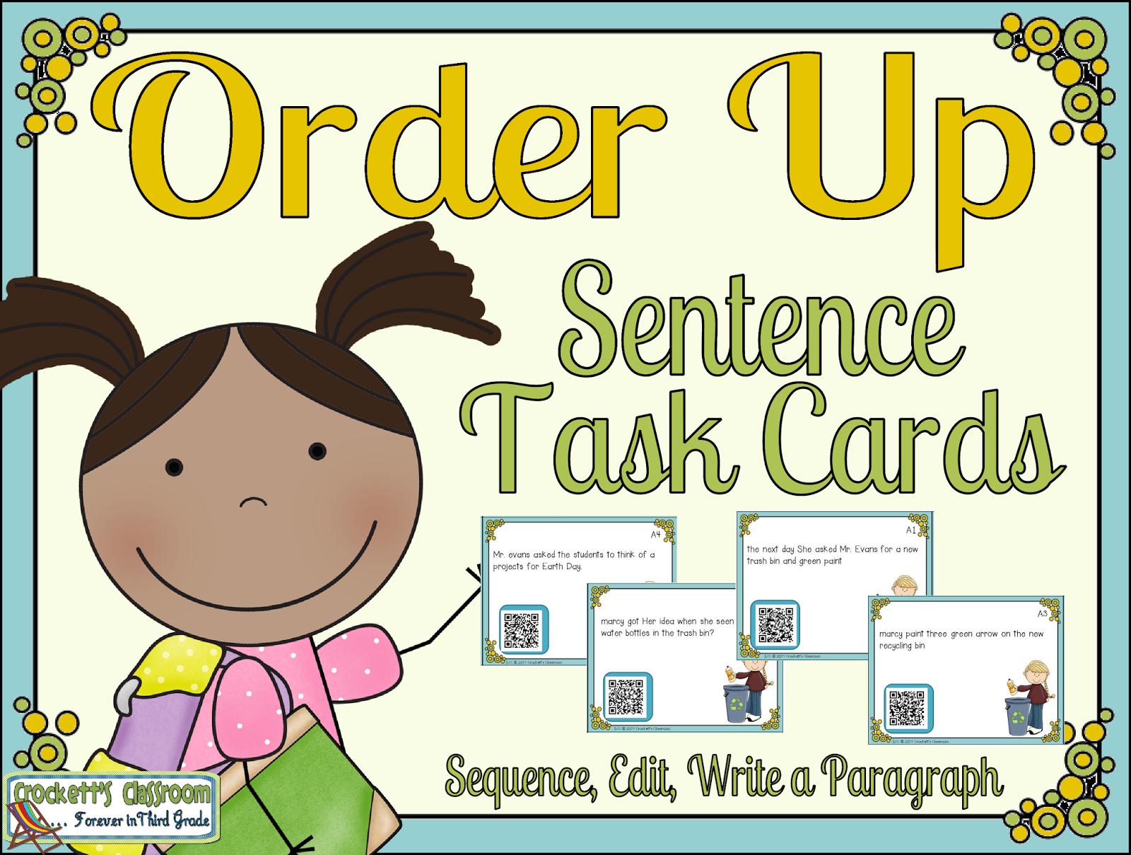 Sentence Task Cards Sample--Crockett's Classroom