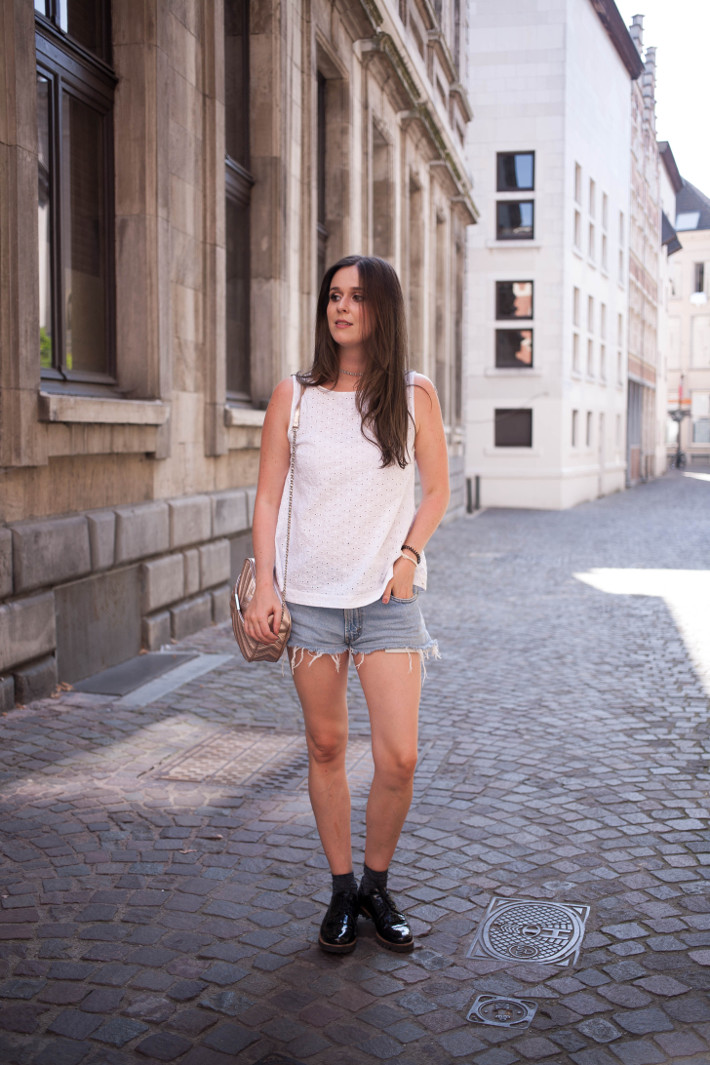 Outfit: eyelet top, denim cutoffs, patent brogues