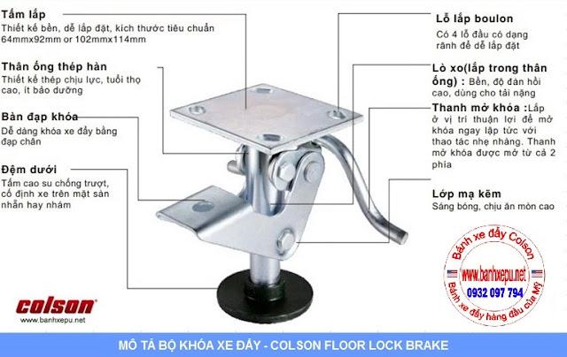 Bộ khóa sàn xe đẩy Colson Mỹ tổng chiều cao khi khóa 159mm | 6002x5 www.banhxedaycolson.com