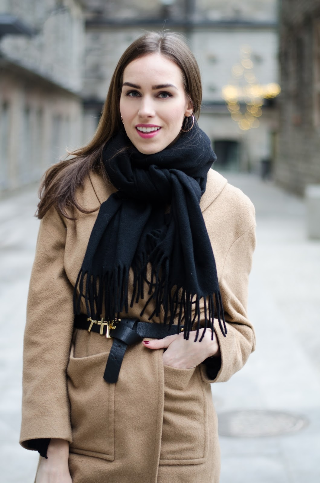 kristjaana mere black acne scarf outfit