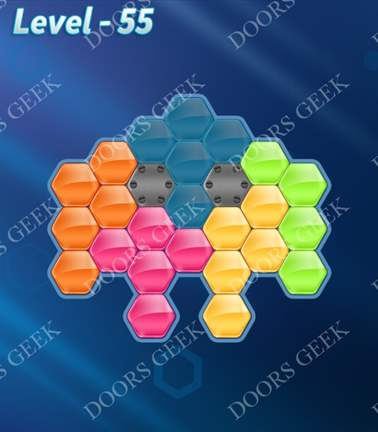 Block! Hexa Puzzle [Rainbow A] Level 55 Solution, Cheats, Walkthrough for android, iphone, ipad, ipod