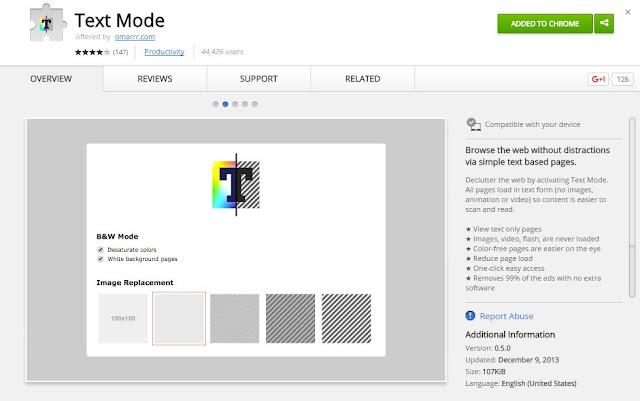 """Langkah 1: Pertama silahkan install ekstensi """"Text Mode"""" untuk Chrome."""