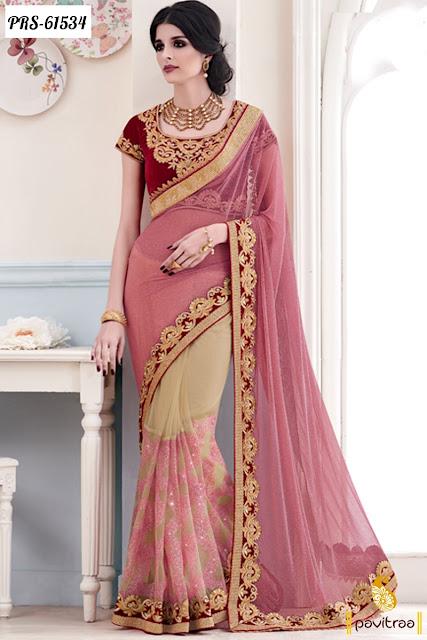 Pink color simmer designer saree online collection for Indian bride wear