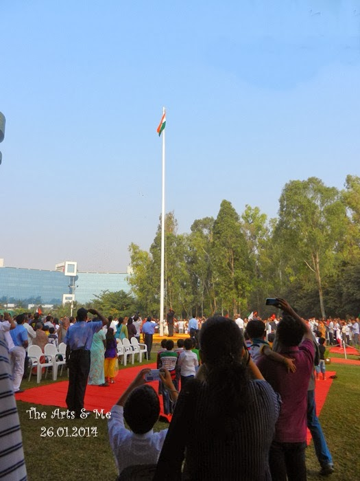 Flag Hoisted by the chief guest on Republic Day at Aditi Garden, Magarpatta, Pune