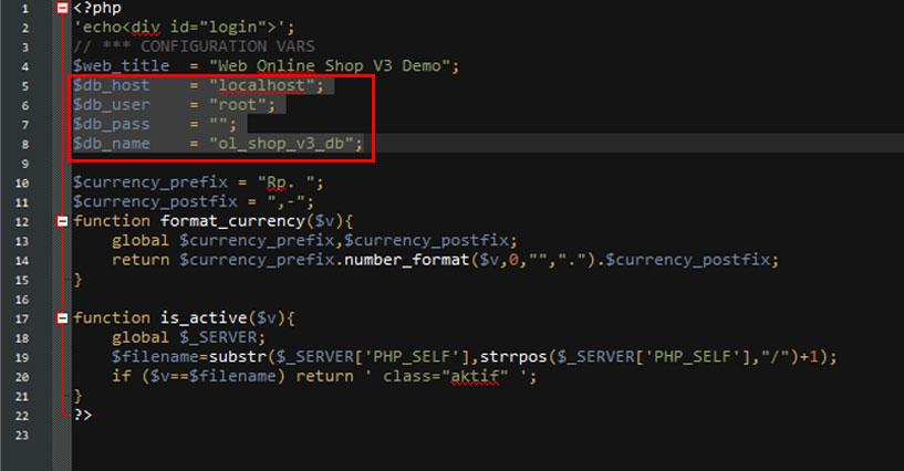 Ubah konfigurasi koneksi Database
