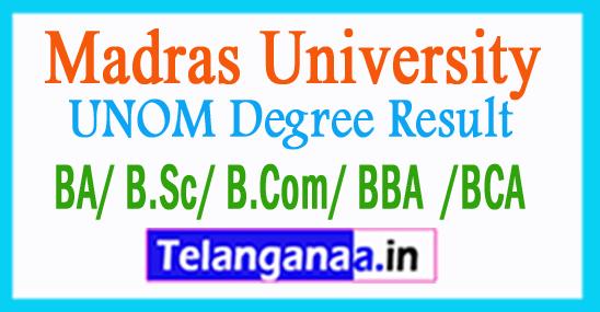 Madras University UNOM Degree Result 2018
