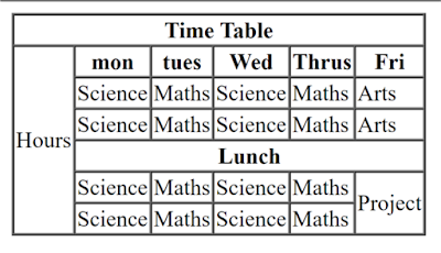 How to create a School TimeTable in HTML