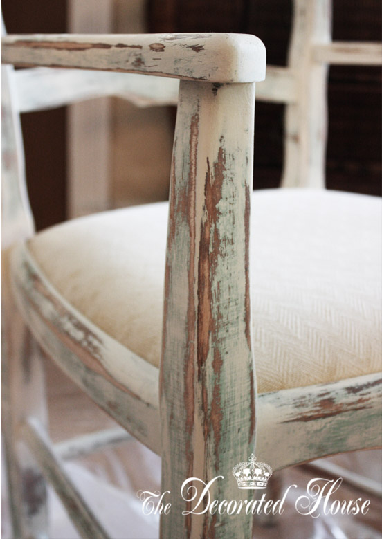 Distressed Rustic French Chair from The Decorated House using Annie Sloan Chalk Paint