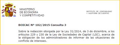 BOICAC 102 Consulta 3 información conflicto interés administradores