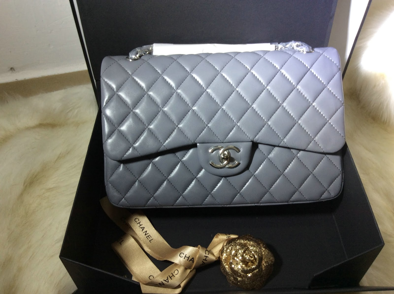 80f34f7da878d6 Pre shipment Photos of Chanel Classic Flap Jumbo Bag in lambskin grey  silver hardware best original quality, comes with full set package