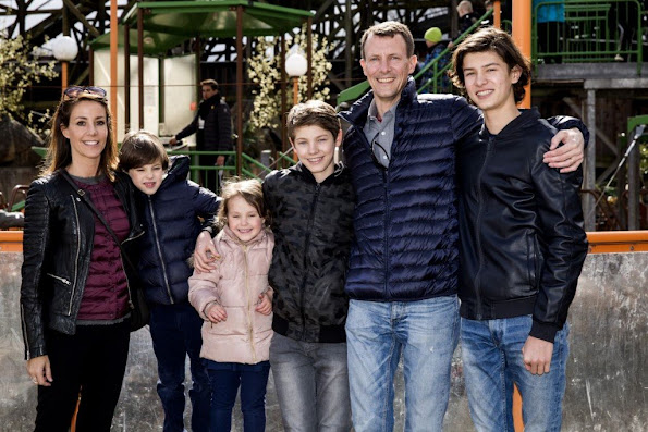Prince Joachim, Princess Marie, Prince Nikolai, Prince Felix, Prince Henrik and Princess Athena of Denmark visited Dyrehavsbakken park. newmyroyals, new myroyals, diamond earrings