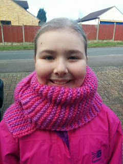 Top Ender with her knitted Scarf