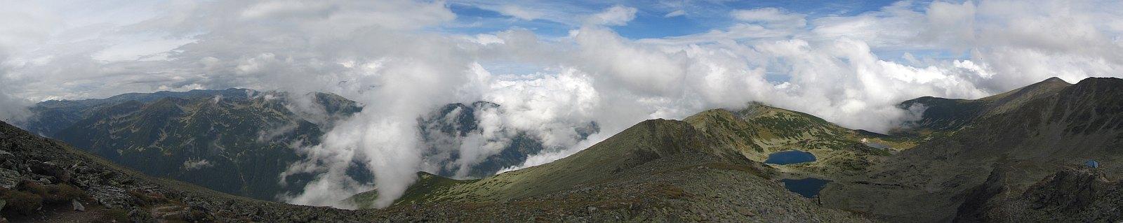 Panorama z partii szczytowych Musały na zachód i północ.