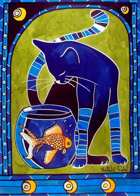 Blue Cat with Goldfish cat painting by Dora Hathazi Mendes