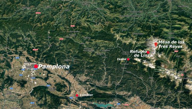 Situación del refugio de Linza y la Mesa de los Tres Reyes, Navarra