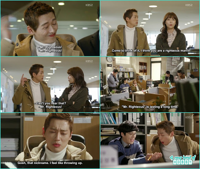 ha kyung the female employee also call chief kim mr righteous and he started hallucinating 'Mr. Righteous'