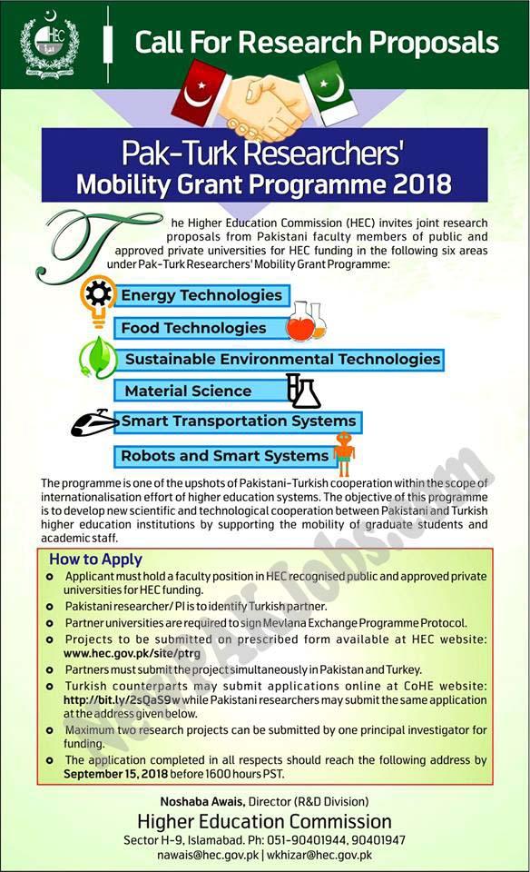 Pak Turk Researchers Mobility grant Programme 2018