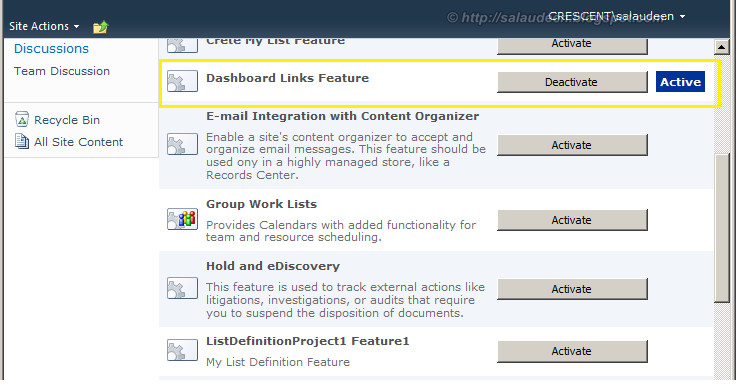 sharepoint 2010 list instance feature