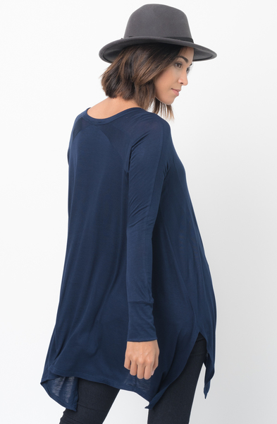 Shop for Navy Blue V-Neck Asymmetrical Swing Tunic long sleeve on caralase.com