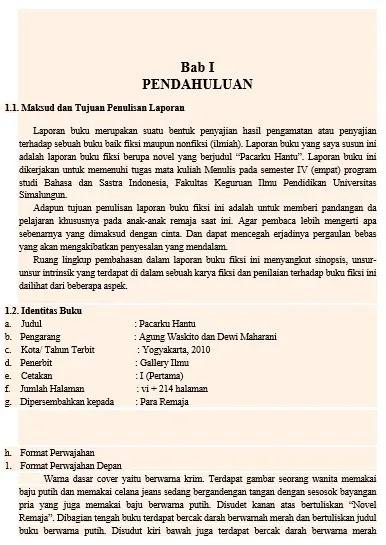 format khusus laporan buku fiksi tanggal baca