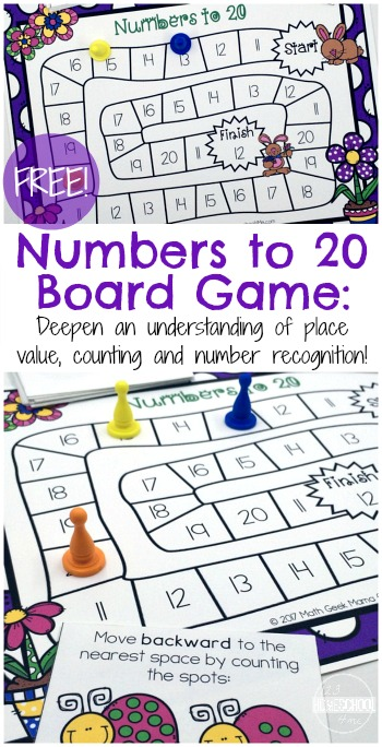 FREE Spring Counting Game (Numbers 1 - 20)