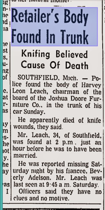 I remembered the Giacalones possibly being involved and them (police) finding Harvey Leach\u0027s (Joshua Doore) body in the trunk of his car on his wedding day.  sc 1 st  Retro Kimmer & RETRO KIMMER\u0027S BLOG: MYSTERIOUS DEATH OF FURNITURE STORE OWNER ...