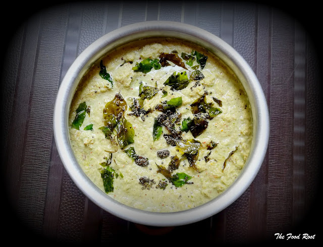Coconut chutney is an amazing combination of coconut, roasted split grams, coriander leaves, ginger, and seasoned with the aroma of mustard seeds and curry leaves.  It's served as an accompaniment with South Indian dishes like Idli, Dosa, Vada.