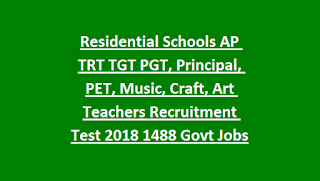 Residential Schools AP TRT TGT PGT, Principal, PET, Music, Craft, Art Teachers Recruitment Test 2018 1488 Govt Jobs