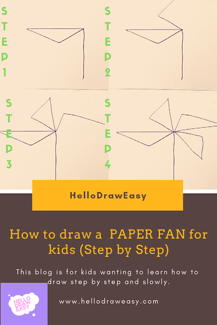 How to draw a Hand Paper Fan for kids (Step by Step)