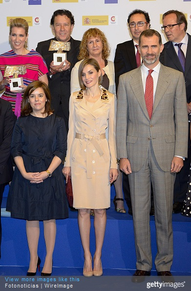 Soraya Saenz de Santamaria, Queen Letizia of Spain and King Felipe of Spain pose for a group picture during the 'Rey de Espana' and 'Don Quijote' Journalism Awards Ceremony at Matadero de Madrid on May 7, 2015 in Madrid, Spain