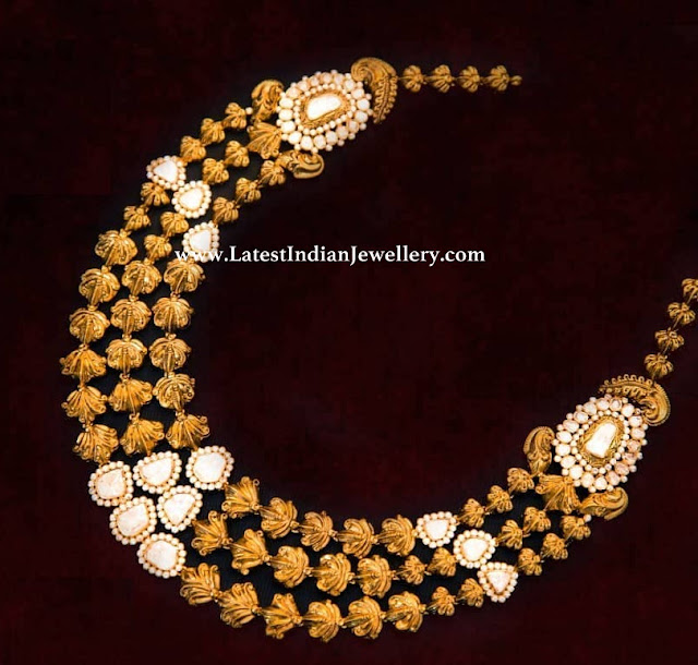 3 Line Gold Beads Polki Necklace