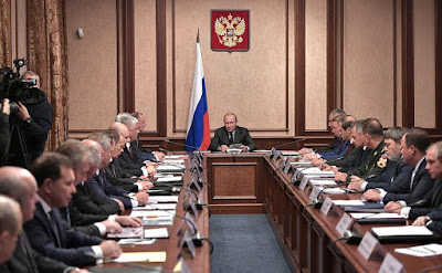 Vladimir Putin held a meeting of Military-Industrial Commission at the Almaz-Antey Air ad Space Defense Corporation.