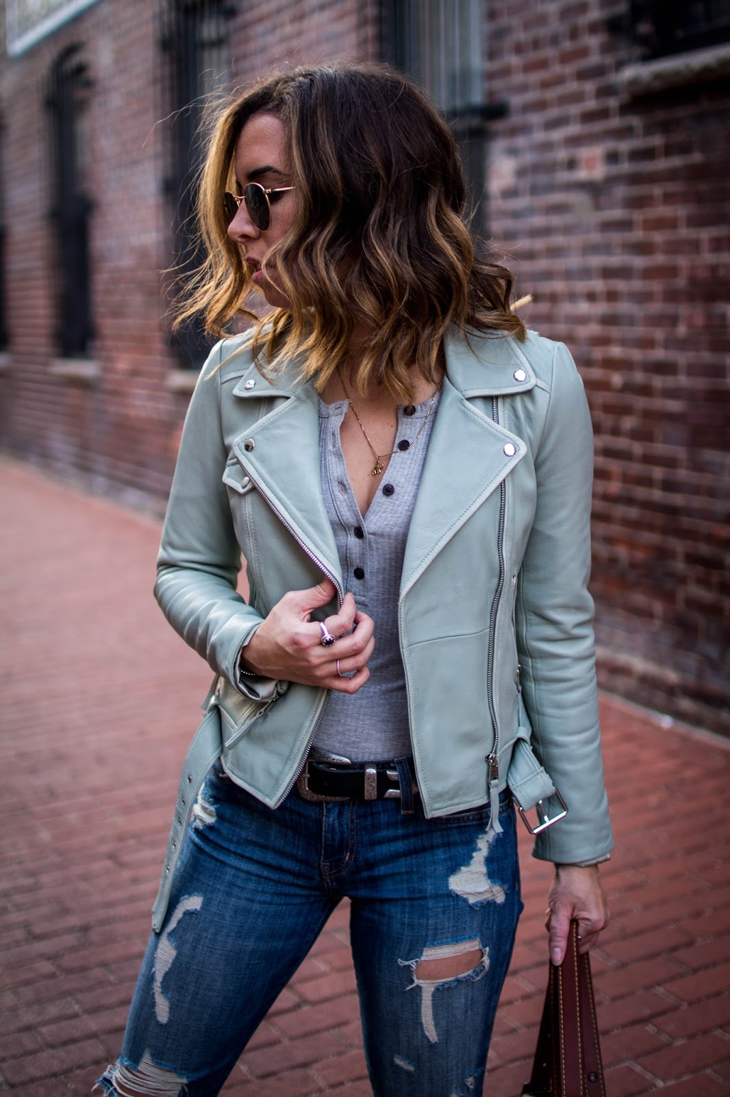 current-elliott-stiletto-joie-sneakers-green-leather-jacket-madewell-bodysuit-casual-style