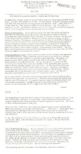 New Mexico Landing Report Under Investigation - NICAP (May, 1964)