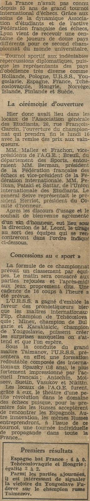 Recortes de la prensa francesa sobre el II Campeonato Mundial Universitario de Ajedrez Lyon 1955
