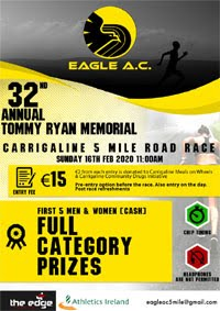 5 mile race in Carrigaline - Sun 16th Feb 2020